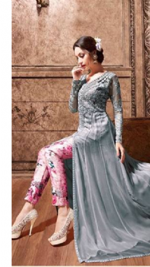 Dashing Grey  Floral Lehenga Trouser Suit